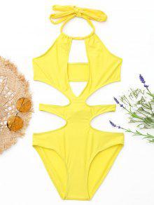 Cortador Halter Monokini - Amarelo S