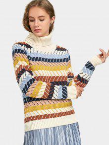 Suéter De Cuello Alto Con Rayas En Zigzag - Raya