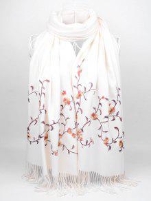 لينة الزهور التطريز مهدب وشاح طويل - أبيض