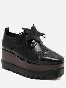 حذاء بنعل سميك مزين بنجمة خماسية - أسود 35