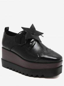 حذاء بنعل سميك مزين بنجمة خماسية - أسود 38