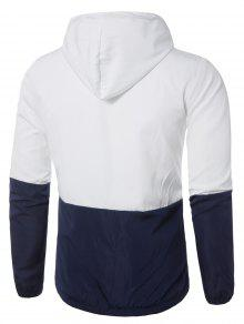 Embellecido Capucha Ligero Zip Chaqueta Jacket Blanco Up 2xl Con wP5xvq4RE