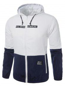 Up Capucha Con Blanco Zip Jacket Chaqueta Embellecido 2xl Ligero SvIq5ww