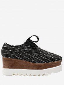 حذاء بلاتفورم بقماش مربع النقش ذو شكل مربع عند الأصابع - أسود 39