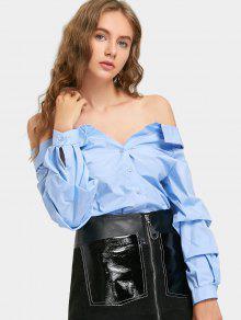 Chemise Boutonnée à épaules Dénudées - Bleu Clair M