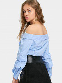 023d9c92a10 26% OFF  2019 Button Up Off Shoulder Shirt In LIGHT BLUE