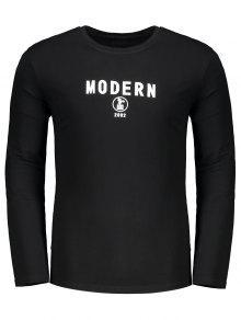 Camiseta Con Cuello Redondo Estampado Con Letras - Negro M