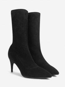 4dd62dc12955 38% OFF  2019 Stiletto Heel Pointed Toe Mid Calf Boots In BLACK