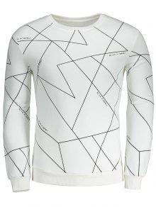 Sweat-shirt Géométrique à Encolure Ronde - Blanc S