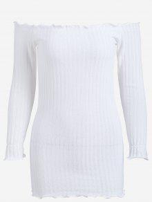 فستان ضيق محبوك مصغر بلا اكتاف - أبيض S