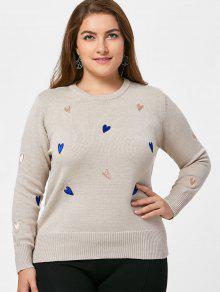 Camisola Bordada Com Bordados Coração - Damasco 3xl