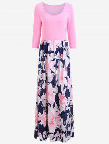 U Colar Impressão Floral Vestido Maxi - Rosa S