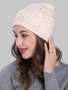 حجر الراين مزين الكروشيه حك قبعة خفيفة الوزن - اللون البيج