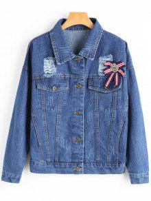 Brooch Embellished Ripped Denim Jacket - Azul Escuro S