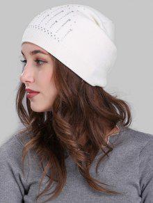 Rhinestone Embellished Crochet Knitted Beanie - Branco