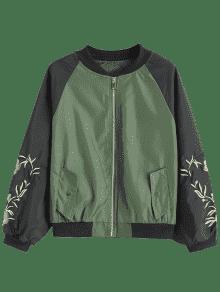 2018 bomberjacke mit blumen patch und raglan rmel von armeegr n m zaful. Black Bedroom Furniture Sets. Home Design Ideas