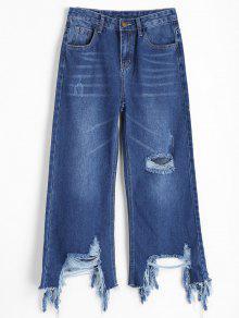 Calças De Brim Largas Afligidas - Jeans Azul M