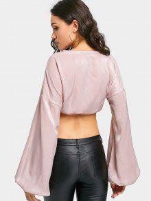 3803bfee71a5f 18% OFF  2019 Drawstring Lantern Sleeve Cropped Blouse In PINK
