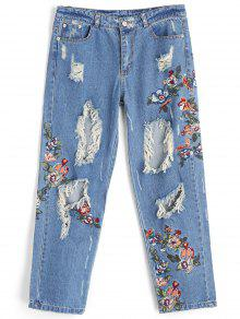 Broches De Bordado Destroyed Jeans - Jeans Azul S