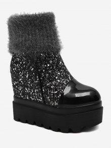 Fold Over Glitter Platform Mid Calf Boots - Prateado  39