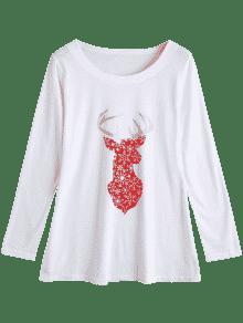 Estampado Con De Larga Camiseta Manga De Navidad De Alces L Blanco qwtgIUUTB