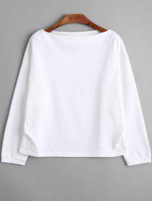 Camiseta De Manga Larga Con Hombros Caídos - Blanco M