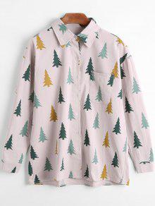 Camisa De Manga Comprida De Manga Frontal De Impressão De árvores - Cinza Pálido E Rosado