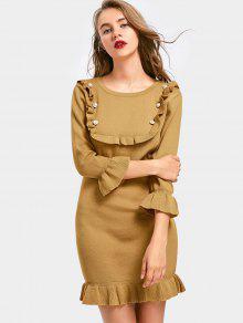 Vestido De Lã Manga Longa Com Babado E Apliques Strass - Caqui