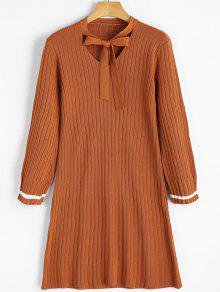 Vestido De Trico Gola Laço - Marrom