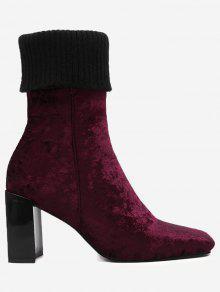 Block Heel Square Toe Fold Over Boots - Vinho Vermelho 40