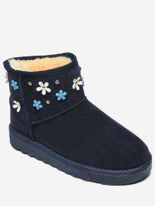 Flower Rhinestone Ankle Snow Boots - Azul 36