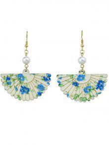 Pendientes De Gancho Con Forma De Abanico De Flores De Perla - Azul