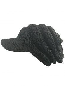 مخطط نمط مضلع حك قبعة بيني - أسود