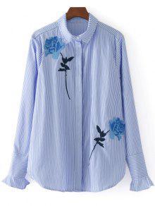 Camisa Bordada Das Listras Bordadas Do Botão Para Baixo - Listras S
