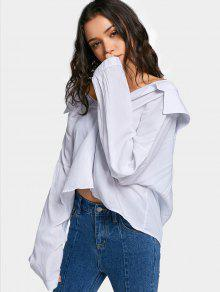 dc1afd02d32 31% OFF] 2019 Oversized Cut Out Off Shoulder Shirt In WHITE | ZAFUL