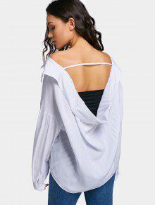 Camisa Recortada De Gran Tamaño Con Hombros Descubiertos - Blanco M