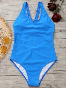 Perna Alta Recortada Y Back Swimwear - Azul S