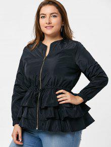 لباس الخندق الحجم الكبير بسحاب كشكش وبيبلوم - أسود Xl
