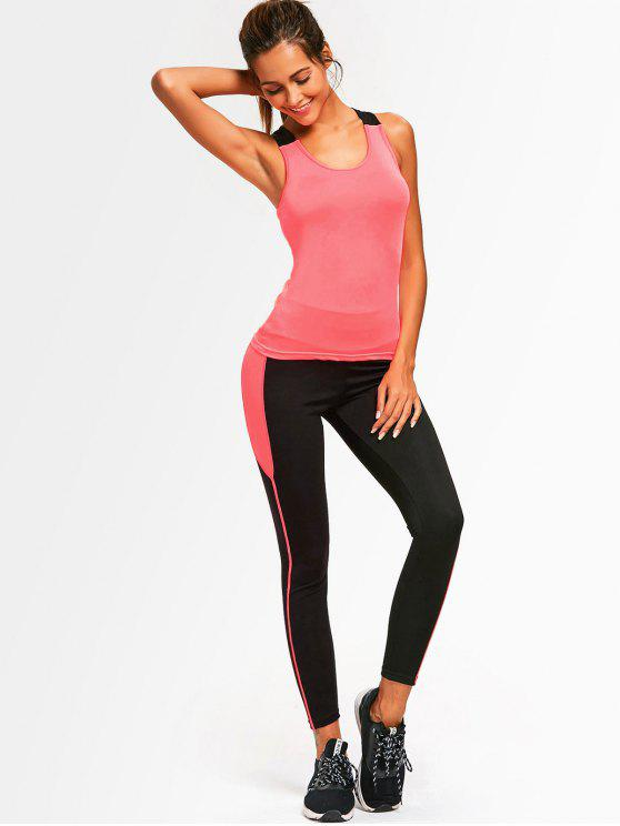 women Cross Back Two Tone Gym Suit - FLUORESCENT PINK ONE SIZE