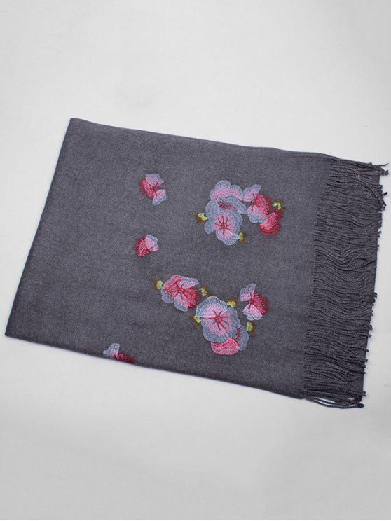 outfits Floral Embroidery Ethinc Style Fringed Scarf - DEEP GRAY