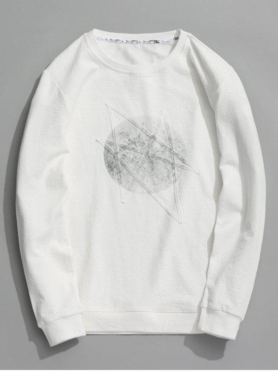 womens Crew Neck Printed Sweatshirt - WHITE XL