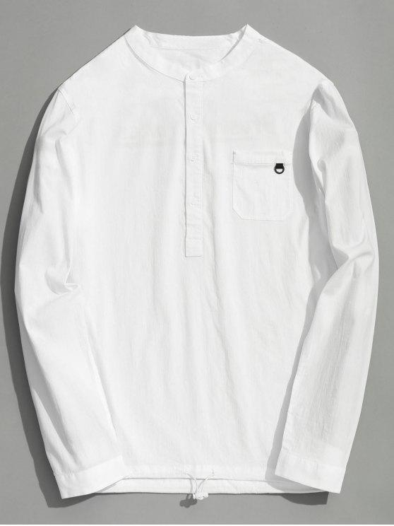 best Half Button Letter Shirt - WHITE 2XL
