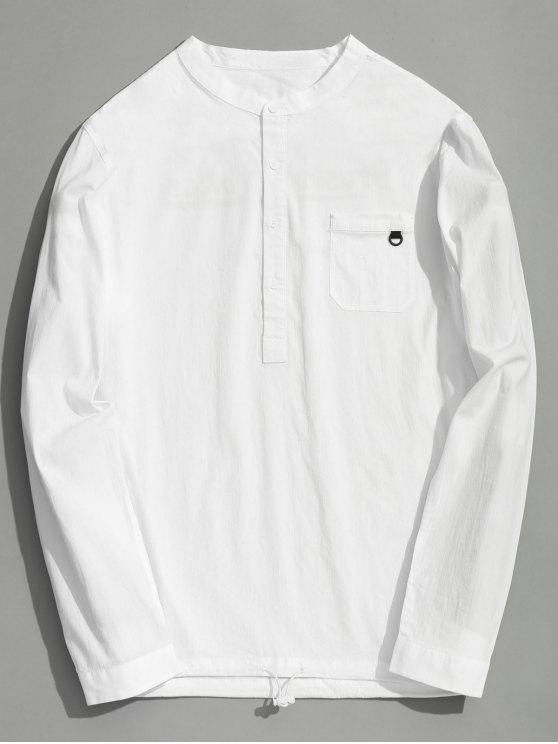 Halbes Knopf-Buchstabe-Hemd - Weiß 2XL