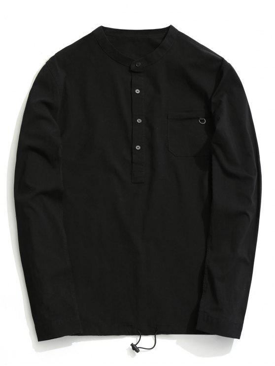 fancy Half Button Letter Shirt - BLACK 2XL