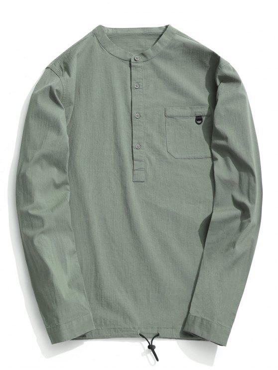 unique Half Button Letter Shirt - LIGHT GREEN 3XL