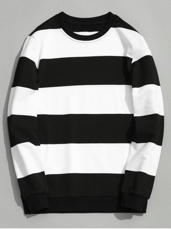 women Color Block Crew Neck Knitwear - WHITE AND BLACK XL