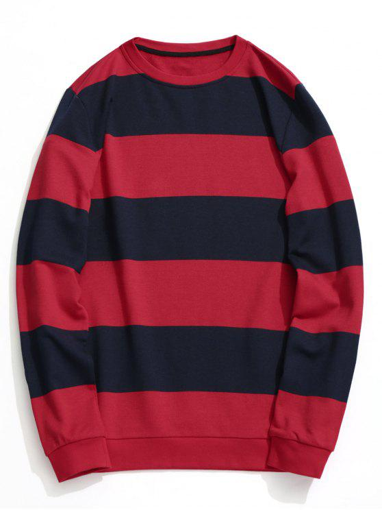lady Color Block Crew Neck Knitwear - BLUE AND RED 2XL