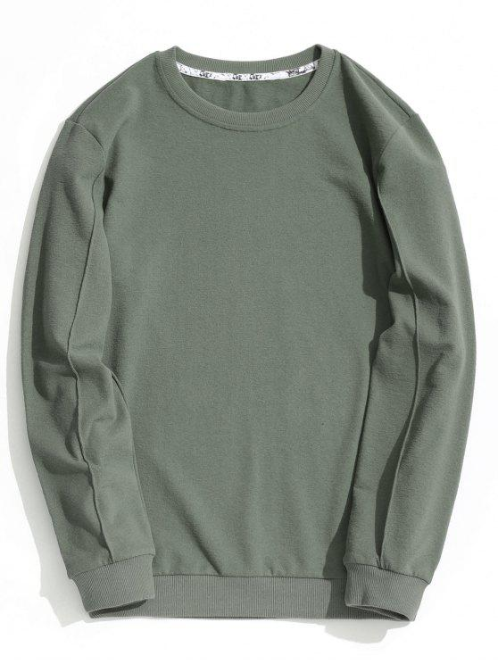 hot Letter Printed Crew Neck Sweatshirt - SAGE GREEN XL