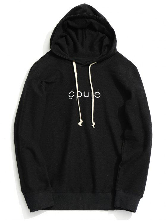 ladies Drawstring Graphic Hoodie - BLACK XL