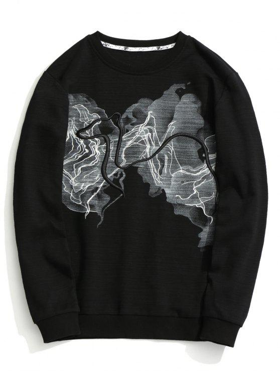 fashion Abstract Print Sweatshirt - BLACK XL